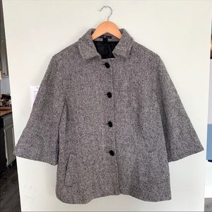 GAP Wool Tweed Pea Coat 3/4 Sleeve